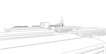 Factory buildings sketch drawings in perspective view, work office and factory building. Hand drawn cartoon 3d illustration.