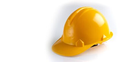 Yellow safety helmet on a white background, Engineering architecture concepts, Banner design.