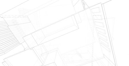 Modern architecture wireframe, Abstract architectural background, 3D Illustration