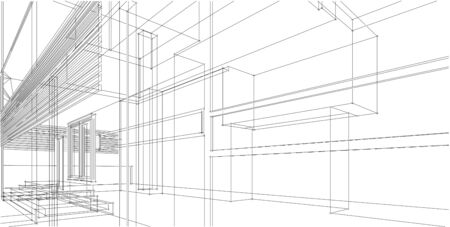 3D illustration architecture building perspective lines, modern urban architecture abstract background design. Architecture building 3d illustration ,Abstract Architecture Background.