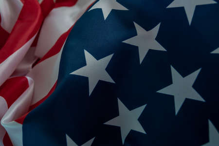 Close-up american flag, USA flag background with copy space. Top view Foto de archivo