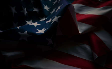 Close-up american flag, USA flag background with copy space. Top view, Dark tone