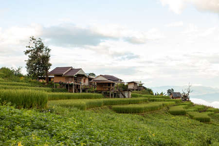 Beautiful tourist accommodation scenery on high mountains, valleys, rice fields and agricultural plots.