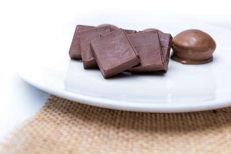 Valentine dark chocolate on white background, Valentines Day Theme