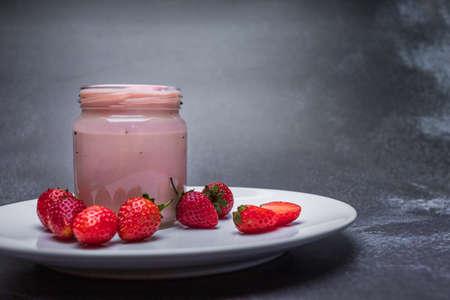 Strawberry Yogurt, Healthy food and drink concept. 版權商用圖片