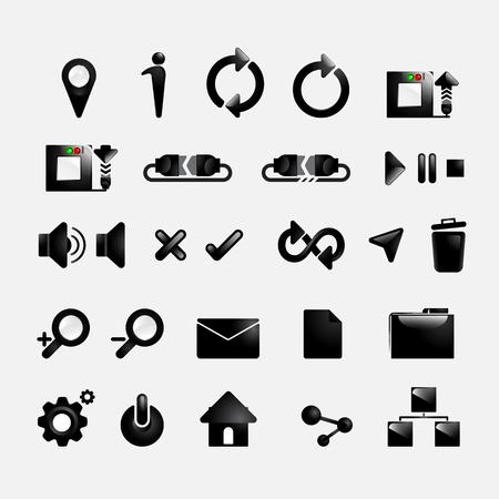 minimal style: Set web icons black color,minimal style design Illustration