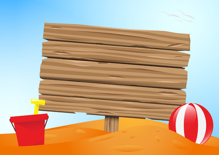 wooden bucket: Wooden old board on the sand beach with beach ball,bucket and spade design Illustration
