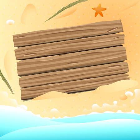 seastar: Wooden old board on the sand beach with seastar,seastones and palm branch design