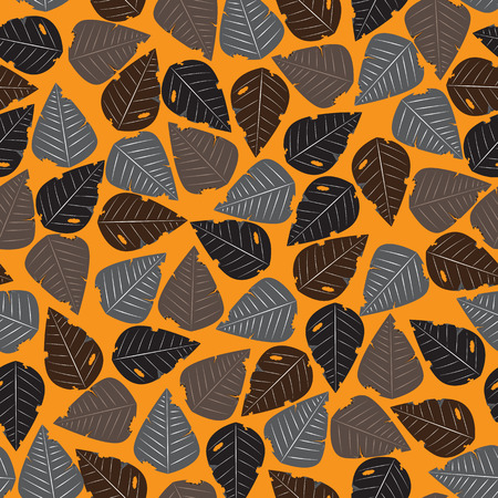 dry leaves: Seamless dry leaves autumn pattern background vector design