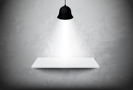ceiling design: Empty white shelf hanging on the concrete wall with light ceiling lamp,vector design Illustration