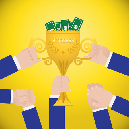 commendation: Hands holding winners trophy cup. Success dream team flat style concept. vector design