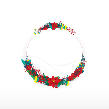 Christmas flowers with circle frame Illustration