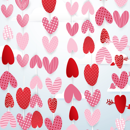 ahorcada: Cute hearts hang in the sky valentines day concept background. paper art and cut, origami style