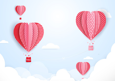 Hot air balloons in shape of heart flying in clouds. paper art and cut, origami style Ilustrace