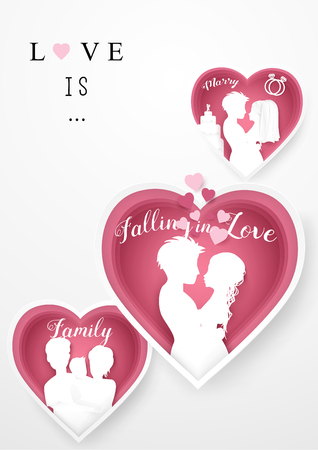 Happy valentines day background. paper cut and art style design