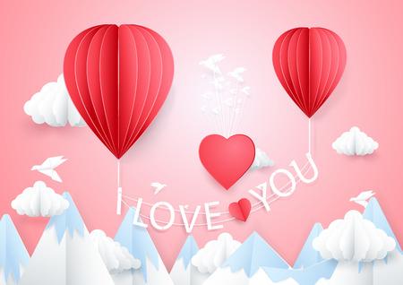 Hou van concept. Hete lucht ballonnen vliegen met ik hou van je woorden op berg. Papier ambachtelijke stijl