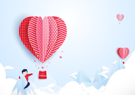 finding: Young man finding love concept. Hot air balloons  flying over on mountains and cloud. paper art style design