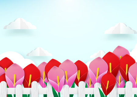 Spring season concept. Wooden Fence and flowers with cloud. paper art style design
