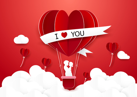 hot couple: Paper art style Couple standing in Hot air balloons flying over cloud. Illustration