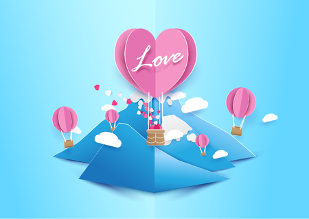 Paper art style Heart shape balloons flying with cloud over mountain. Love concept. Valentines day background Illustration