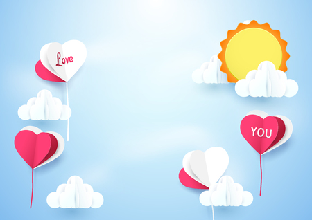 airship: Heart shape balloons flying sky with sun background. Paper art and craft style