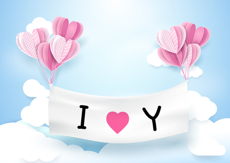 hot couple: Heart shape balloons hanging with banner. Love concept background Illustration