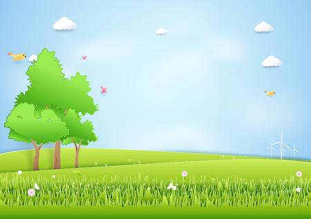 恥丘と木の背景を風景します。紙アート アート クラフト スタイル