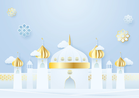 Paper craft Mosque and Islamic decoration Ramadan Kareem concept on blue background