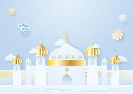Papier ambachtelijke moskee en islamitische decoratie Ramadan Kareem concept op blauwe achtergrond