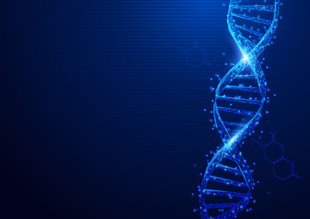 Wireframe DNA molecules structure mesh from a starry on blue background. Science and Technology concept