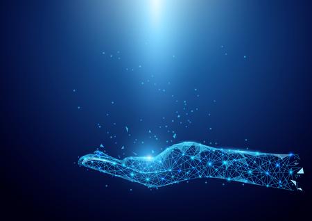 Wireframe mão sinal malha de um estrelado em fundo azul Ilustración de vector