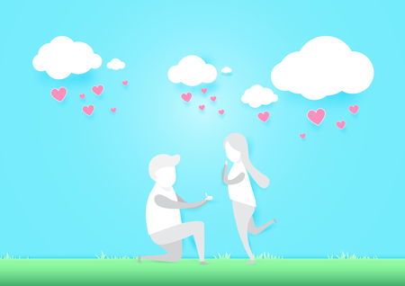 Young man makes a proposal to get married. Romantic concept