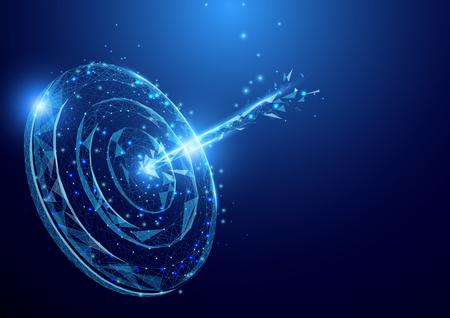 Wireframe Lanza la malla de la muestra del objetivo de la meta del tablero de un estrellado en fondo azul. Concepto de éxito