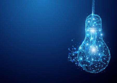 Low polygon light bulb wireframe mesh hanging on blue background Illustration