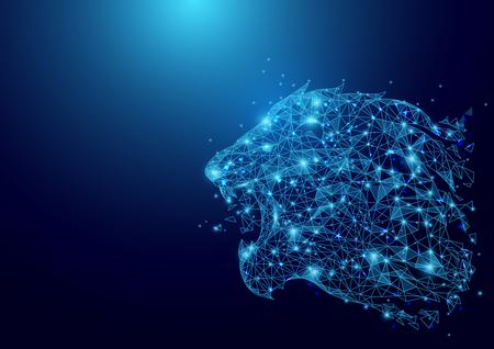 Laag veelhoek Lion hoofd wireframe gaas op blauwe achtergrond