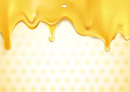 Sweet gold dripping honey on honeycomb background Stock Illustratie
