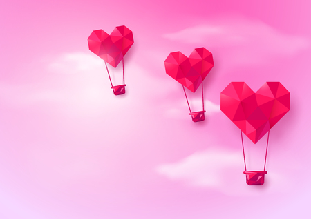 airship: Hot air balloons Heart shaped flying on pink sky background. Low polygonal and origami style design