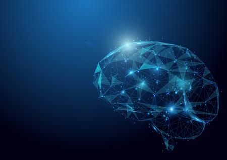 Niska wieloboka móżdżkowa móżdżkowa siatka na błękitnym tle