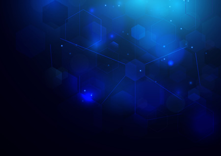 Abstract bokeh hexagonal shape on dark blue . Science technology concept Vettoriali