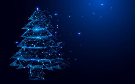 Wireframe Een kerstboomteken gaas van een sterrenhemel op blauw