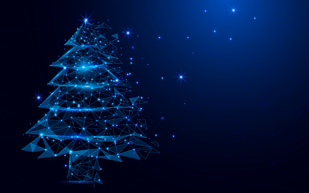 Wireframe A Christmas tree sign mesh from a starry on blue Vectores