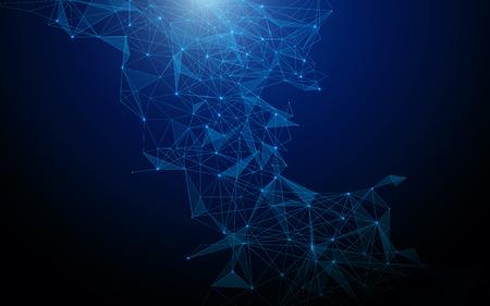 추상 미래의 다각형 및 라인 기술 개념 배경