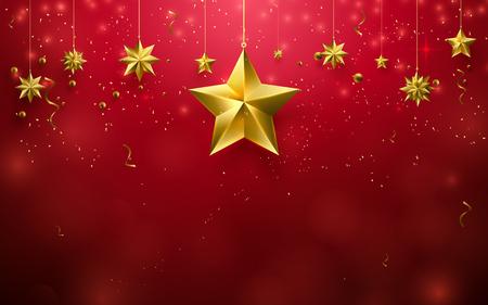 Natale stelle ornamento appesa su sfondo rosso Archivio Fotografico - 84794350
