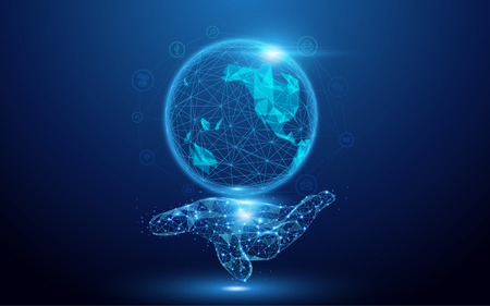 Wireframe A Globe Map with social icons on hand sign mesh from a starry on blue background Vettoriali