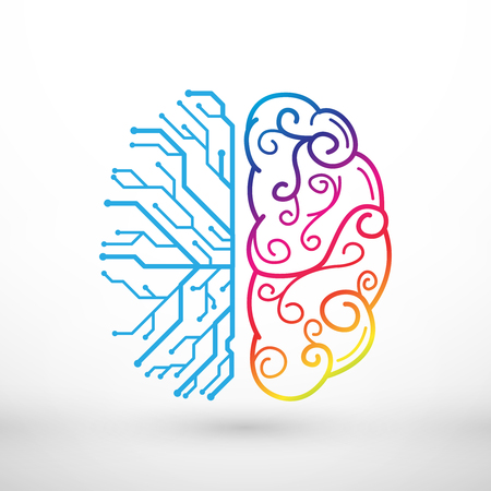 Abstract lines left and right brain functions concept, analytical vs creativity Vettoriali