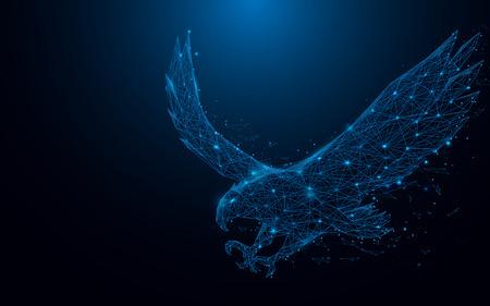 青の背景にネットワークを接続するポイントから直線や四角形、着陸イーグル フライ。イラスト