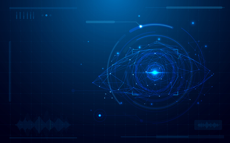 Abstract futuristic digital eye scanner. concept of technology security on blue background
