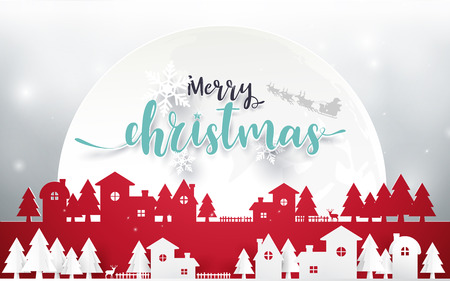 Merry Christmas and Happy new year. Merry Christmas lettering with Christmas trees on red background. Paper art and origami style design Illustration