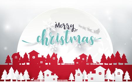 Vrolijk kerstfeest en een gelukkig nieuwjaar. Vrolijk kerstfeest belettering met kerstbomen op rode achtergrond. Papieren kunst en origami stijl ontwerp