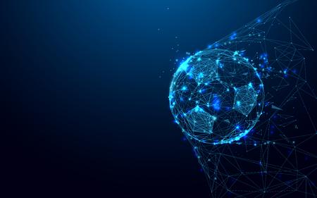 Ballon de foot dans les buts de lignes et de triangles, point de connexion réseau sur fond bleu. Illustration vecteur